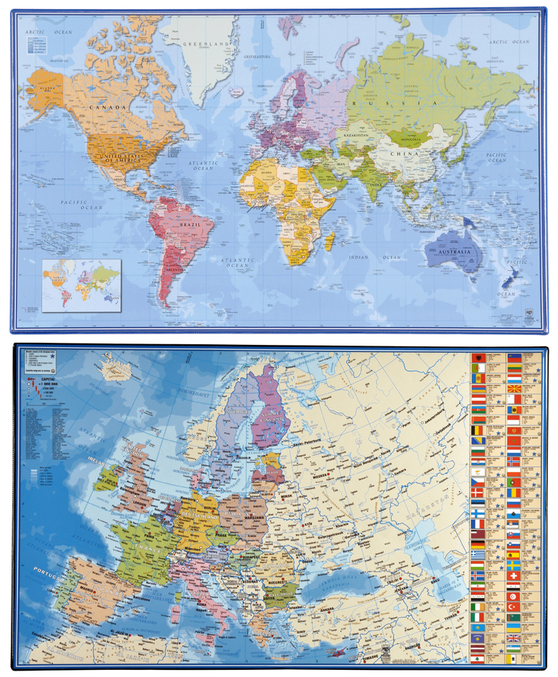 Map Of The World Com.Desk Mat 598 X 365mm Map Of The World Europe Viquel