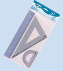 Set: 30cm ruler, triangle ruler, protractor ruler