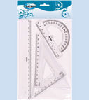 Set: 20cm ruler, 2 triangle rulers, protractor ruler
