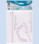 Set: 15cm ruler, 2 triangle rulers, protractor ruler