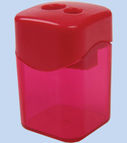 Sharpener plastic with 2 blades, with container