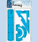 Set FLEXIBLE: 20cm ruler, triangle rulers, protractor ruler